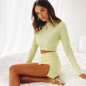 2021 Women Knitted Suit Crop Top Mini dress Long Sleeve Two Piece Set O Neck Female Matching Set Autumn Outfits 121606