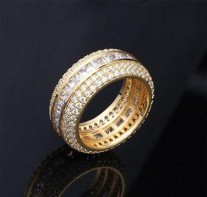 Neue Mode 18K Gold Weißgold Blingbling CZ Kubikzirconia Full Set Fingerband Ring Luxus Hip Hop Diamant Schmuck Ring für Männer Wmtpi