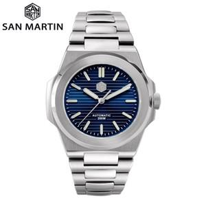 San Martin Dalgıç Retro Klasik Lüks Safir Kristal Paslanmaz Çelik Erkekler Otomatik Mekanik Saatler 20bar BGW-9 Aydınlık LJ201212