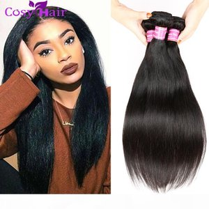 Remy Human Hair Extensions 4 paquetes Malasia Virgen Paquete recto Natural Black Weave Styles 8-26 pulgadas Longitud mixta