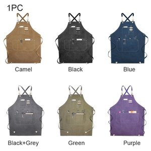 Women Mens Adjustable Home Cooking Cross Back Straps Kitchen BBQ Gardening Chef Apron Oil Proof Work With Pockets Canvas
