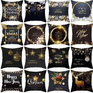 Taoup الذهب الأسود ندفة الثلج عيد ميلاد سعيد عيد الميلاد كيس المخدة ديكور للمنزل ديكور لعيد الميلاد الحلي عيد الميلاد نويل سانتا WY889