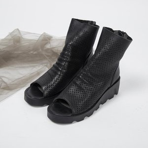 spring and summer new top layer cowhide fish mouth hollow leather hole wedge with platform women's boots LJ201030