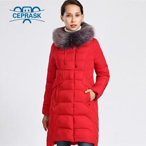 Novas mulheres jaqueta de inverno plus tamanho colar de pele longo mulheres casaco de inverno espesso de alta qualidade aquecer jaquetas parka Ceprask 201029