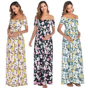 Mutterschaft lange Kleider Kurzarm One-Shoulder Blume Kleidung für Schwangerer Premama Travel Strand Fotoshoot Elegante Kleider