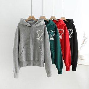 20fw de diseño de lujo Ami corazones un 4 colores bordado con capucha casuales punto de los hombres de las mujeres de moda las chaquetas con capucha de Streetwear al aire libre