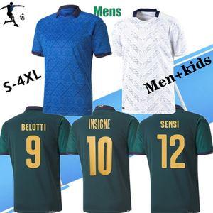 20 21 Copa de fútbol europea Jersey Ita Li Dark Green Chiellini El Shaarawy Bonucci Insigne Bernardeschi Camisetas de fútbol para niños
