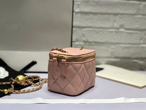 Spring and summer gold bead box bag exquisite chic chain small makeup box super mini shoulder bag