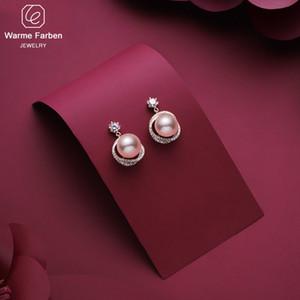 Warde Farben 925 Sliver Aguja Pendiente Mujeres Koreanall-Match Redonda PERLA DROP DROP Pendiente Rosa Oro Color Incrustado Zircon Pendiente 210202
