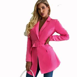 STYLISH LADY Rose Elegant Blazer with Belt 2020 Autumn Women Long Sleeve V Neck Irregular Slim Office Lady Party Blazer Jacket