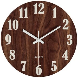 12 Inch Night Light Function Wooden Wall Clock Vintage Rustic Country Tuscan Style For Kitchen Office Home Silent & Non-Ticking