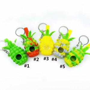 Ananas-Mini-Tobbaco-Handrohr-Silikon-Rohr mit Schlüsselkette 2,8-Zoll-Bubbler-Löffel-Rohr für das Rauchen Glasschüssel Glasbong-Wasserleitungen