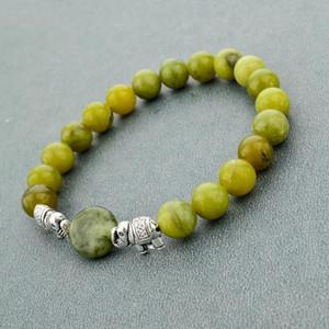 Green Natural Stone Beads Bracelets For Women Men Silver Color Elephant Bracelets Love Ethnic Jewelry Bracelet