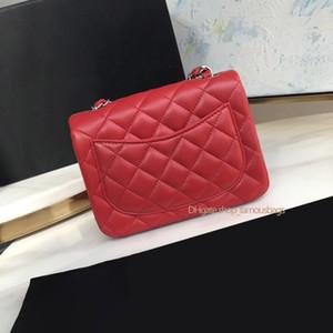 Mujer cartera cha mini cuadrado colgajo clásico pellbskin rojo cuero genuino oro cadena hombro cruz cuerpo bolsa bolsos 7a bolso de calidad bolso