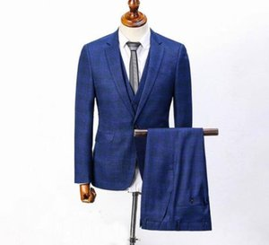 England Men Wedding Prom Suits Gray Blue Brown Slim Fit Plaid Tuxedo Man Formal Suit Business Work Wear Cotton Jacket Pants M-XXXL