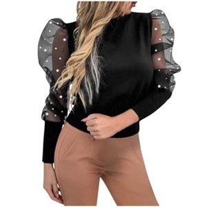 Mesh Lantern Sleeve Blusa Moda Donna O-Neck Shirts Lantern Sleeve Dot Casual Solid Top Solid Top New Blouss