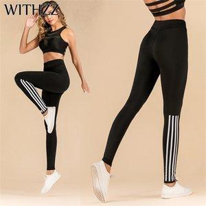 WITHZZ Stretch Moda Pull Striscia stampata a vita alta Sportleggings Donne allenamento Leggings Q1107