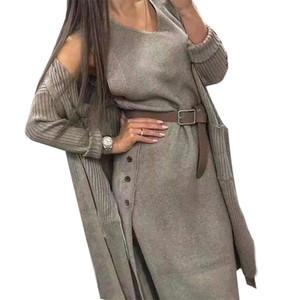 MVGIRLRU Женский вязальный трексуит осенние женские платья костюм вязаный кардиган свободно свитер пальто с поясом двух частей набор 201031