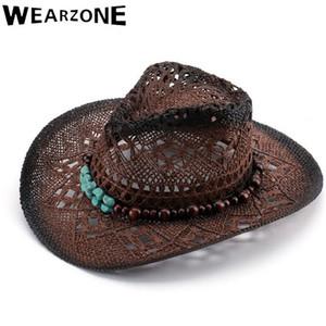 Wearzone 2020 Sombrero de sol de las mujeres de paja viajes sombreros de disquete Ala hombres del verano del sombrero del sol de alta calidad correa de cuero plegables sombreros de vaquero