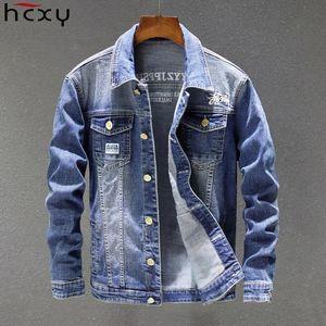 HCXY 2020 Denim Printemps Automne Mode Hommes Vestes Manteaux Hommes Veste en coton pour hommes Jean Veste Outwear Homme Cowboy Taille 5XL