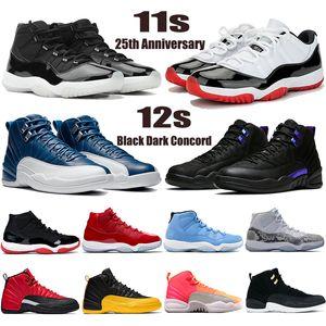 Nuovo 11 11s 25th Anniversario Basso Bianco Bianco Brud Shoesman Scarpe da basket 12 12s Nero Black Dark Concord Indigo Mens Donne Sneakers Scarpe da ginnastica
