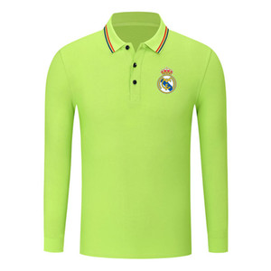 Real Madrid cotton long sleeve shirt men lapel polo soccer men polo shirt training jersey Men's Polos slim polo shirt