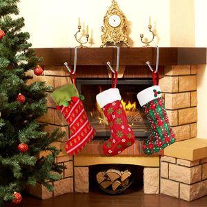 6pcs Christmas Stocking Holders Hooks Hangers Christmas Stocking Clips Non Slip Hang Grip Hooks For Christmas Party Decoration sqczTY