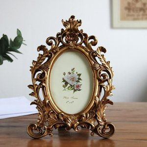 Retro Oval Photo Frame Resin Desktop Picture Frame Wedding Party Gold Home Decoration Ornaments Crafts Gift 6 7 8 ZM729