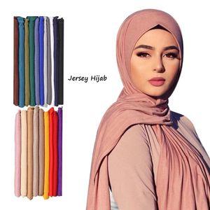 Muslim Mode Jersey Modal Jersey Hijab Écharpe Haute Qualité Stretch Châle Écharpes Femmes Cable Bandeau Foulard Enroulées Turbante Mujer