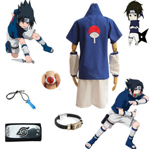 Asian Size Japan Anime Naruto Uchiha Sasuke Halloween Cosplay Costume Short Sleeve shirt shorts Uniforms Full Set