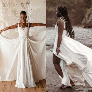 2021 nueva boda vestidos de cuello cuadrado Sleevelesss del cordón del satén de Split vestidos de novia por encargo del barrido tren vestido de novia rue de Seine
