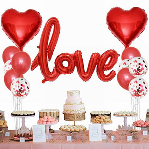 13pcs set Romantic Wedding I Love You Foil Balloons Heart Ballons Valentine Day Birthday Party Decorations Latex Globos Supplies
