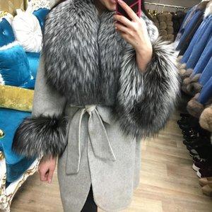 Furealux Kollu Deri Palto Ceket Kürk Gevşek Hakiki Yaka Ceket Kadın Doğal Fox Gerçek Kaşmir UNFOA