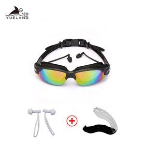 Adult Waterproof Glasses Earplugs Professional Silicone Caps Pool Anti-fog Uv Swimming Goggles Arena
