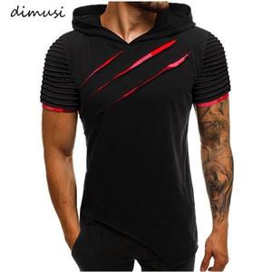 DIMUSI Summer Men's T Shirt Man Casual Short Sleeve Sweatshirt Hooded T Shirt Mens Hip Hop Streetwear Tops Tees Clothing C1021