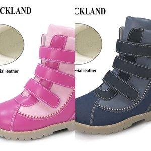 Ortoluckland Children Girls Cuero Botas de invierno Largas Zapatos Ortopédicos Para Niños Boys Martin Botas Negras Con Soporte De Arco Insolle J1209