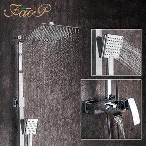 Faop Dusche Wasserhaarige Messing Badezimmer Dusche Wasserhahn Wasserfall Dusche Sets Badezimmer Mixer Rainfall Armaturen LJ201211