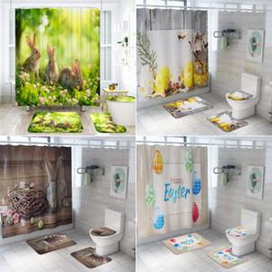 Easter Egg Prints Bathroom Curtains Sets 3D Polyester Waterproof Shower Curtain Toilet Cover Mat Non-Slip Bath Rug Set
