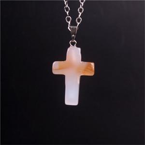 Cristais Rosa Natural Pedra Ágata Cross Pendulum Pingentes Moda Colorido Compact Decore Colar Acessório Mensas Mens Hot 1 3ze M2