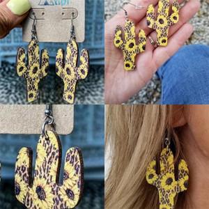 Sonnenblumenkaktus Drop baumeln Ohrringe 2020 Modeschmuck Ohrstecker Charms Frauen Ohrring Woodiness Neues Muster 4SP F2B