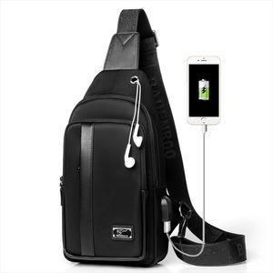 Kangaroo Brand Chest Pack Men Shoulder Crossbody Bag Usb Charging Chest Bag Oxford Travel Sling Messenger Male
