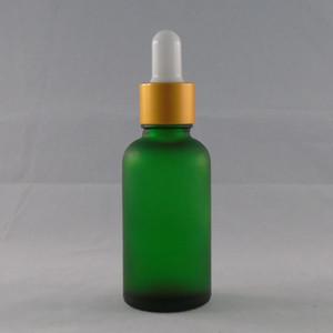 누수 방지 UV-증거 에센셜 오일 녹색 유리 dropper 병 젖 빛, 1온스 30ML 보스턴 둥근 유리 수염 오일 병 골드 뚜껑 도매