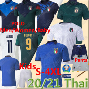 4XL 2020 Coupe d'Europe ITALIE Zaniolo SENSI INSIGNE Soccer Jersey POLO SHORT CHIELLINI BELOTTI TOTTI PIRLO FOOTBALL Hommes Enfants Kit FEMMES