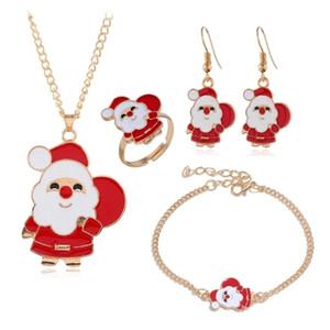 Christmas Jewelry Set 5pc Santa Elk Bell Earrings Necklace Bracelet Decor Xmas Gift For Women Wife Mother Girl Friend