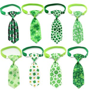 ST Patrick's Day Domicing Toilettage à rayures Navigée à rayures Animal Bowtie Collier Animal Cravat à col pour Cravat de Collier Blanc Crêt de chien DHD4563