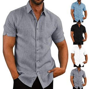 2020 New Trendy Casual Men Solid Color Turn Down Collar Short Sleeve Pocket Slim Shirt Basic Wild Top For Male