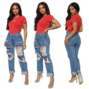 Ripped Pant Sexy Women Casual Denim Straight Pants Jeans High Street Trousers
