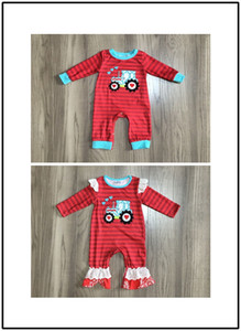 GirlyMax Spring Winter Baby Girls Boys V-day Tractor Embroidered Romper Infant Toddler Stripe Red Clothes Q1113