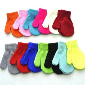 Knitted Baby Gloves Winter Wool Newborn Mittens Toddlers Solid Warm Gloves Designer Baby Accessories 13 Candy Colors Optional DW5974