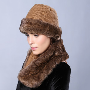 Wholesale-Faux Fur Women Winter Hats with Infinity Scarf Solid Color Skullies & Beanies Two Sides Available Bow-ties Knit Female Cap